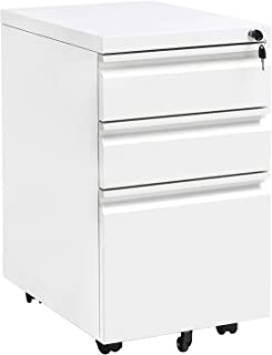 Locking File Cabinet Rolling Metal Filing Cabinet 3 Drawer Fully Assembled Office Pedestal Files Except Wheel(White A)