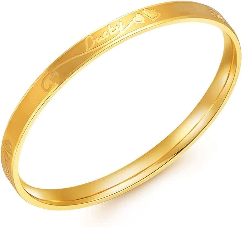 Gorgeous Epinki 18K Yellow Gold Women Bracelet Bangle Engraved Brac Sacramento Mall Lucky