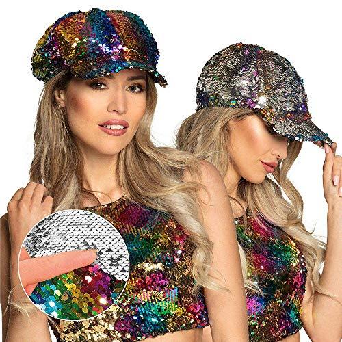 Boland 33004 - Mütze Rainbow switch, umkehrbare Pailletten, regenbogen/silber, Accessoire, Kopfbedeckung, Cap, Mottoparty, Karneval