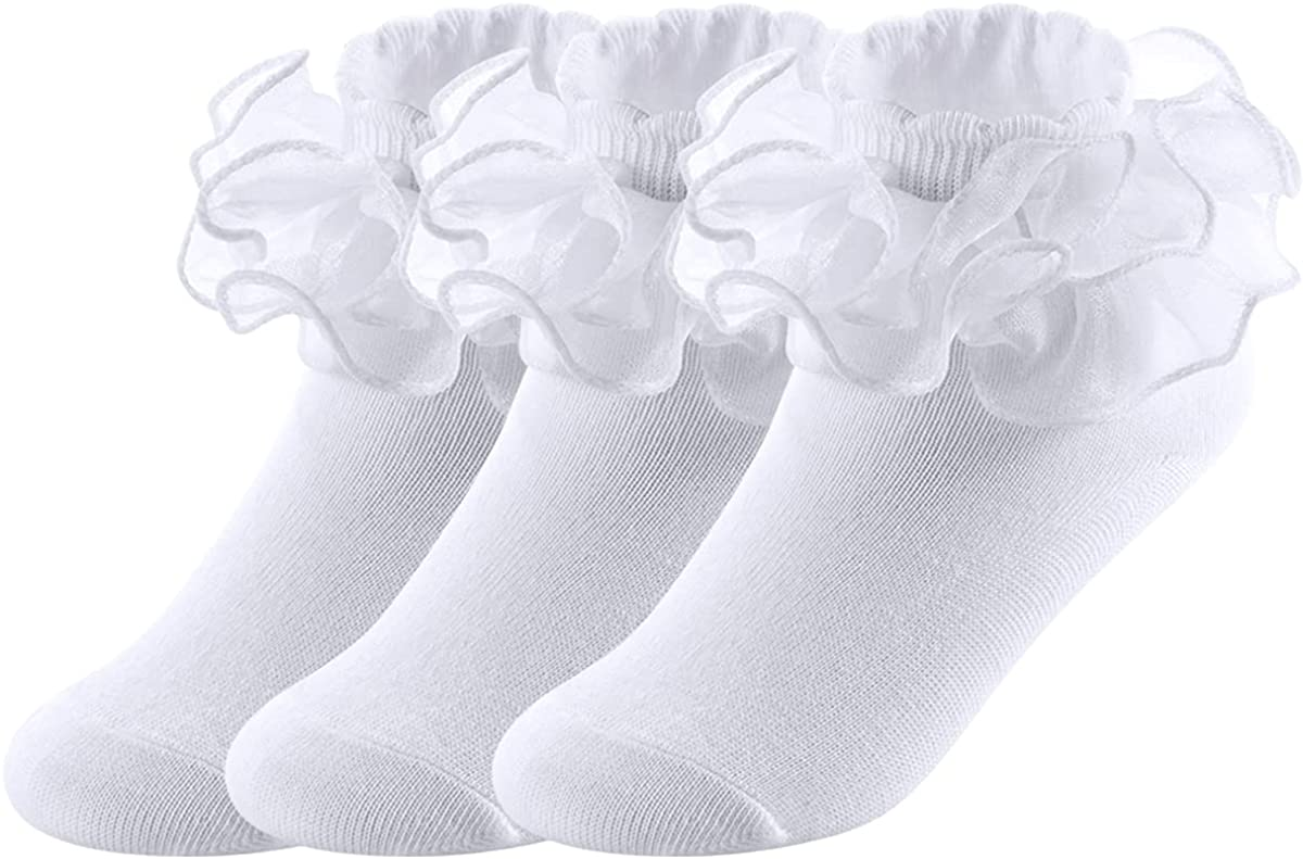 Big Girls Lace Socks with Shimmering Organza Ruffles Comfortable Kids Trim Frilly Princess Dress Ankle Socks 3 Pairs