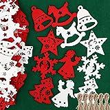 48pz Ciondoli in Legno per Albero di Natale Appesso Decorazioni Natalizie Addobbi Natalizi Ornamenti Feste Angelo Stella Fiocco di Neve Campana Cavallo Bianco Rosso