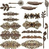 18 Stücke Französisch Haarspangen Retro Vintage Bronze Rosen Blume Blatt