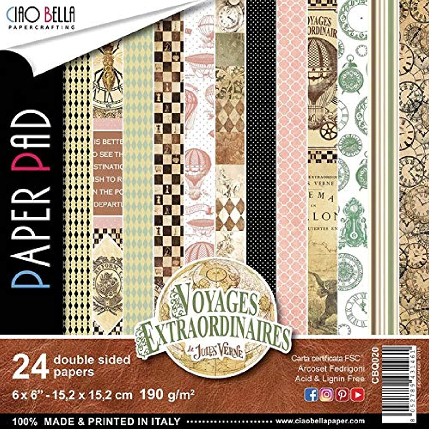 Ciao Bella CBQ020 Voyages Extraordinaires Dbl-Sided Paper 90lb 6