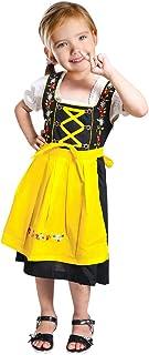 Seruna Dirndl Kinder-Dirndl 3 teilig Dik05 Gr. 116, Trachten-Kleid gelb-schwarz Dirndel-Bluse -Schürze für Oktober-Fest