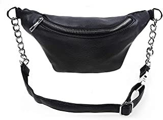 Fashion Leather Waist Fanny Pack Chest Bag Phone Purse with Metalic Chain for Women Black
