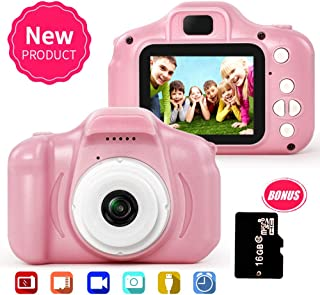 YAPENG Camera for Kids,5MP 1080P Kids Digital Video Toy Camera with 2.0 Inch IPS Screen and 16G SD Card (Pink)