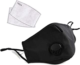 PM 2.5 Adult Face Mask - Reusable/Washable Facial Cotton Covering - Includes (2) PM 2.5 Filters