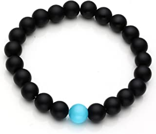 Jewelry - Black Lava Rock Beads Matte Agate Beads Elastic Energy Bracelet with 1 Red-Yellow Amber Bead