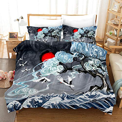 ECHODMFS Duvet Cover Japanese Style Bedding The Sea Of Dark Clouds, Adult and Child Bedding,The Sea Of Dark Clouds Super King 240X260Cm