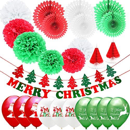 26PCS Decorazioni natalizie Ventaglio di carta Fiore Fiore di carta Palla a nido d'ape Cappello di Natale Carta Decorazioni natalizie Buon Natale Banner e palloncini per la festa di Natale