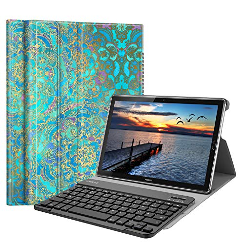 Fintie Bluetooth QWERTZ Tastatur Hülle für Huawei Mediapad M5 10.8/10.8 Pro - Ständer Schutzhülle mit Magnetisch Abnehmbarer Drahtloser Deutscher Bluetooth Tastatur für Huawei M5 10,8,Jade