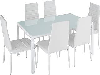 TecTake Conjunto de Mesa y 6 sillas de Comedor (Blanco   No