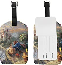 Beauty And The Beast Luggage Tags Adjustable Strap Leather luggage tag for Baggage Bags/Suitcases - Name ID Labels Set for Travel