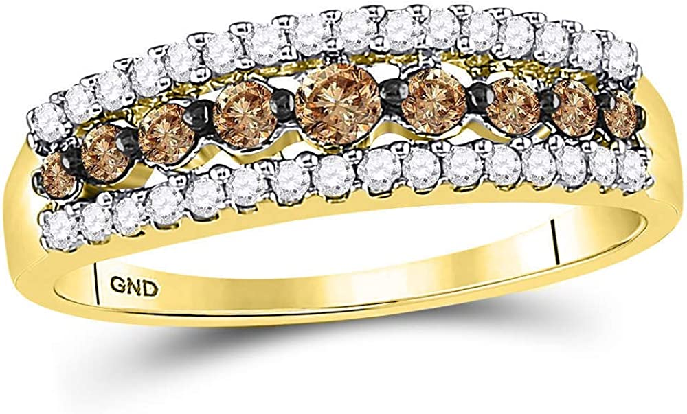 Long Beach Mall The Diamond Discount mail order Deal 10kt Yellow Brown Gold Tri Womens Round