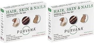 Wellgenix Purvana Hair, Skin, And Nails Vitamin Softgels For High Absorption - Double Strength 2500mcg Biotin, Vit A & B (...