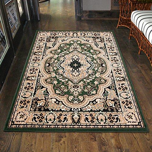 Carpeto Klassischer Orientteppich & Perserteppich mit Orientalisch Muster Kurzflor in Grün/TOP Preis - ÖKO TEX (200 x 300 cm)