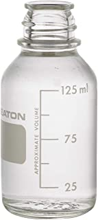 Wheaton 219435 Media Bottle, 125ml Clear Graduated without 33-430 Screw Cap, Autoclavable (Case of 48)