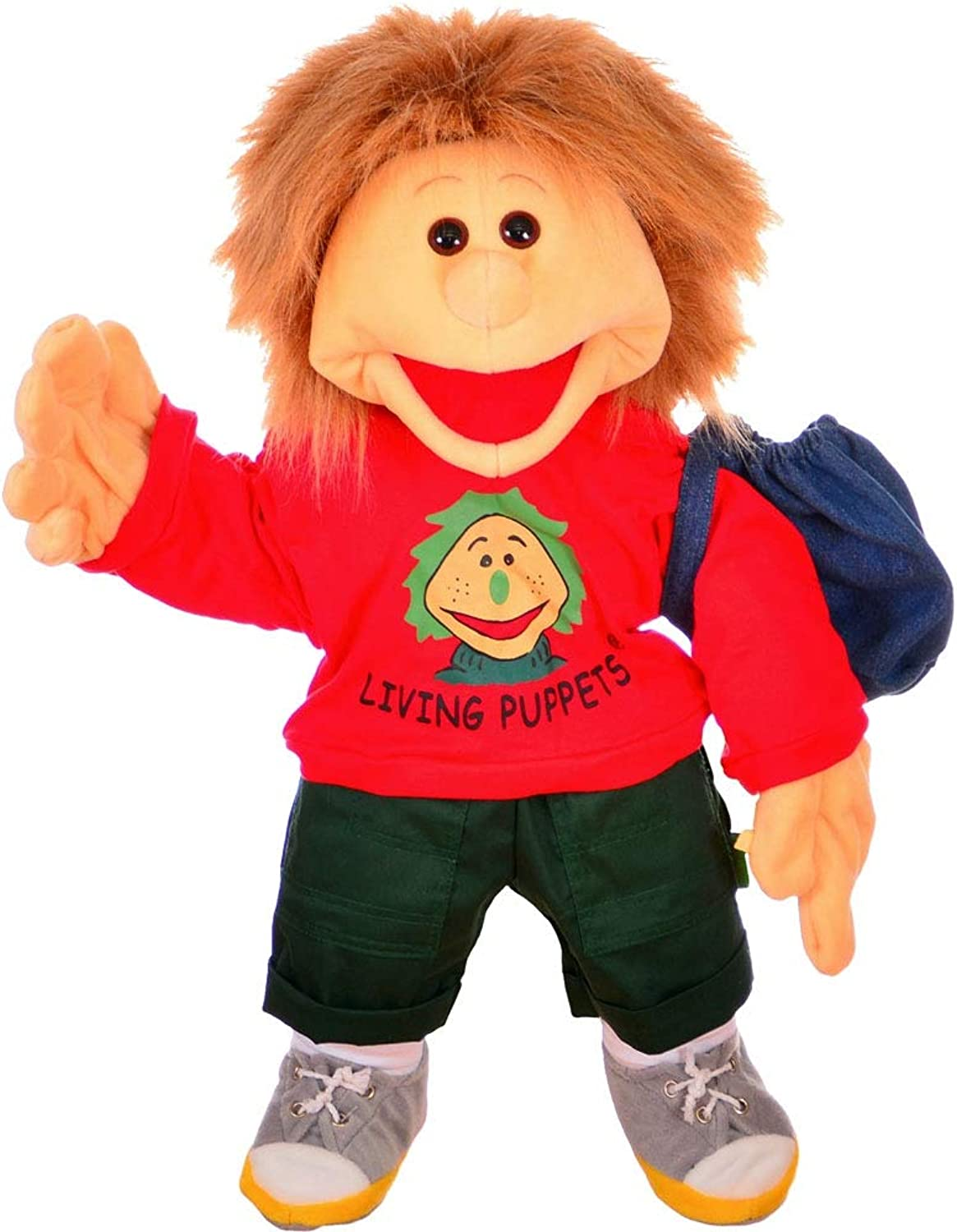 Living Puppets Groe Handpuppe Florian mit Badehose Groesse  65 cm Farbe  rot Lieferumfang  Badehose im Rucksack MA000W230