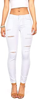 GUNLIRE Women's Juniors Black Skinny Ripped Jeans Distressed Destroyed Stretch Pants with Holes