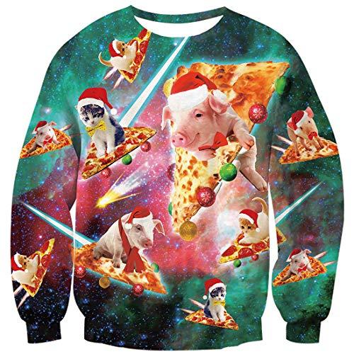 Goodstoworld 3D Katzen Pizza Sweatshirt Weihnachtspullover Personalisiert Witziger Häßlicher Weihnachtspulli Mann Frauen Funky Karneval Tops Pizza Schwein M