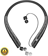 Bluetooth Headphones,DolTech Wireless Neckband Headset with Retractable Earbuds, HD Stereo Noise Cancelling Earphones with Mic (Call Vibrate Alert,18 Hrs Playtime)(Matte Black)