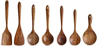 GZZX Wooden Utensils Set for Kitchen, Messon Handmade Natural Teak Cooking Spoons Wooden Spatula for Nonstick Cookware