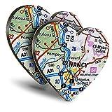 Destination Vinyl ltd Great Posavasos (juego de 2) con diseño de corazón de Nancy City Francia, para cualquier tipo de mesa #45822