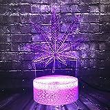 Hoja de Canadá Novela Hoja de cáñamo Planta 7 Cambio de color LED Decoración Habitación Mesa Luz de noche Amigo Vacaciones Suministro de Navidad Lava Regalo de cumpleaños (ZYJHD)