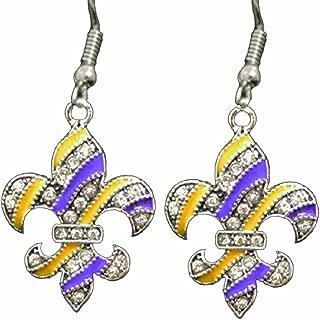 LSU Purple & Gold Fleur de Lis Earrings Embellished with Clear Crystal Rhinestones.GEAUX Tigers!