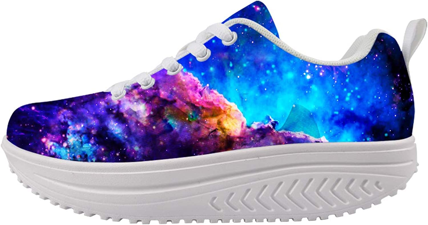 LedBack Lightweight Galaxy Painting Fashion Wedges Platform Sneakers Women's Swing Strength Tennis Running shoes