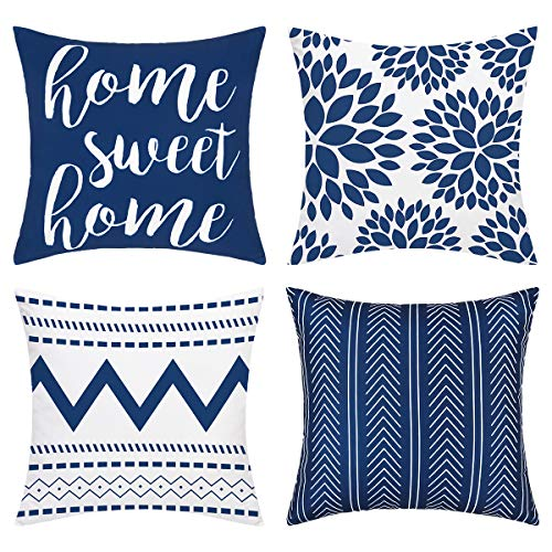 Alishomtll Geometric Throw Cushion Covers Set of 4 Decorative Pillowcases Home Sweet Pillow Covers Outdoor Cushion Covers for Couch Sofa (Blue, 18 x 18 Inch)
