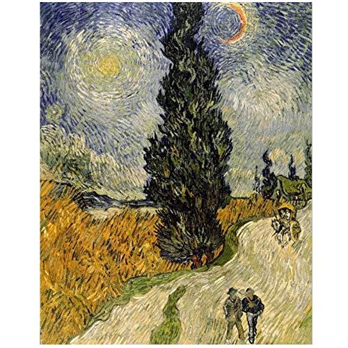 NOBRAND Imprimir en Lienzo Pintor Van Gogh Road con Cypress bajo Starry Sky Poster Wall Art Painting para Sala de Estar Decoración para el hogar 50x70cm (19.7x27.6 Pulgadas) Sin Marco