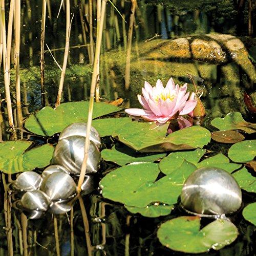 8er Set Köhko Dekokugeln Ø 12cm Ø 9cm Ø 6cm und Ø 4cm Edelstahlkugel Gartenkugeln Teichkugeln - 3