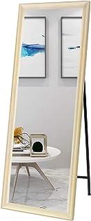 Prolife 姿見 全身鏡 ミラー スタンドミラー 立て鏡 木目調フレーム 壁掛け 飛散防止 おしゃれ かがみ 北欧 玄関 寝室 お店 (ホワイト, 幅40cmx高い150cm)