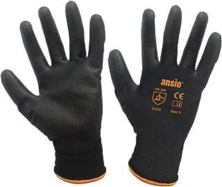 ANSIO 10 Pairs Work gloves PU Palm Dipped Black Nylon General Handling Work Gloves - Large - 9