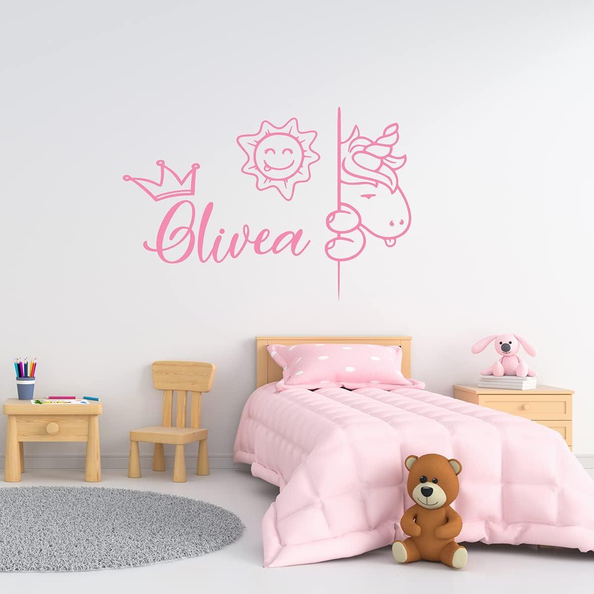 ZIHENG Time sale Custom Cute Unicorn Long Beach Mall Name Stic Wall Sticker Waterproof Art