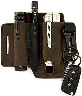 Gentlestache Multitool Sheath for Belt, Leather EDC Pocket Organizer for Men, Leatherman Sheath with Pen Holder, Key Fob, ...