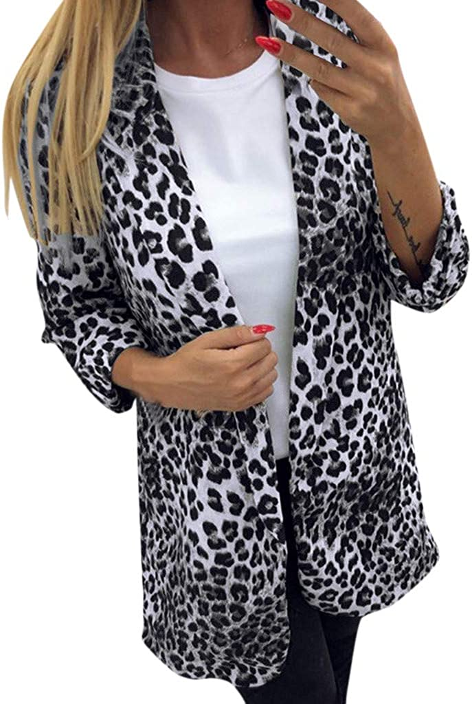Forwelly Winter Cardigan for Women Fashion Leopard Print Long Sleeve Suit Jacket Open Front Office Cardigan S-XL