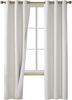 Deconovo 100 Percent Blackout Curtains with 3 Pass Thermal Insulated Coating Faux Linen Room Darkening Grommet Curtains for Nursery Room 38 x 84 Inch Long Set of 2 Panels White