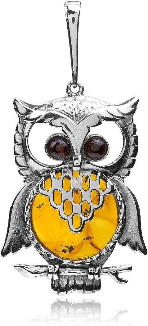 Multicolor 70% OFF Outlet Amber Bargain Sterling Owl Pendant Silver