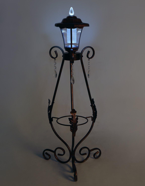 HLC Antik Metall Pflanztopf Blumentopf Ständer mit Solar LED ...
