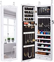 LANGRIA 10 LEDs Wall Door Mounted Jewelry Cabinet Lockable Jewelry Armoire Storage Organizer for Accessories, Carved Design, 2 Drawers, 3 Adjustable Heights, White