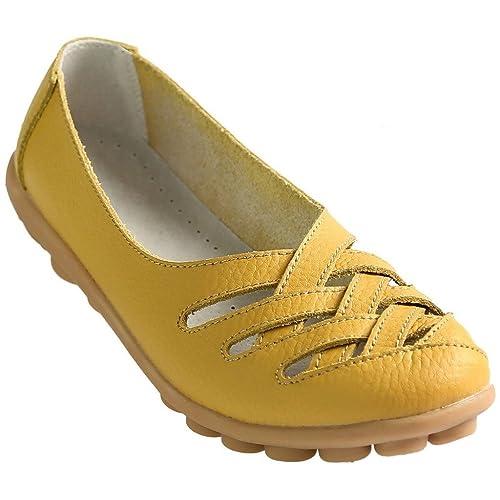 3ba6720dd Fangsto Women's Cowhide Leather Loafers Flats Sandals Slip-On