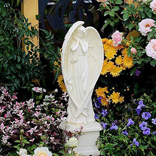 HYBUKDP Figurine Zen ornaments Girl Angel On Pedestal Resin Large Wings Cherub Figure Grave Decoration Garden Memorial Ornament Pergola Statue ornaments (Color : Default)