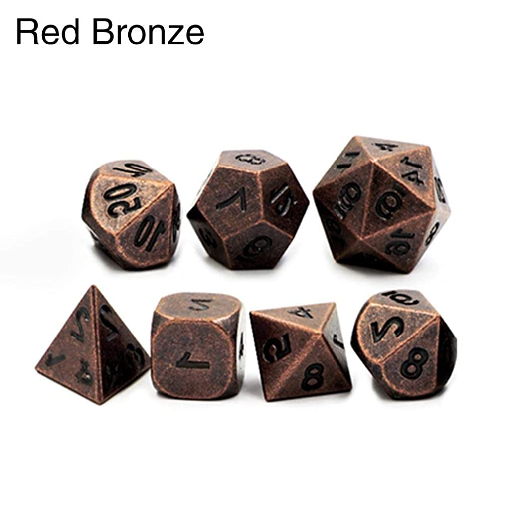 Purplert Dice 7pcs/Set Creative Polyhedral Metal Solid Zinc Alloy Game Dice D&D Metal Dice Multiple Sides Dice for Game, Dungeons and Dragons, RPG, Math Teaching