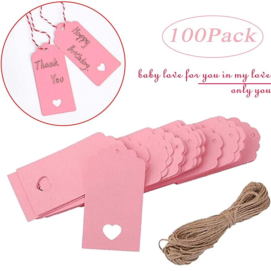 Gift Tags,?Kraft Paper,Price Tags with String Craft Tags,Perfect for Arts and Crafts, Wedding Christmas Day Thanksgiving and Holiday, 100PCS (Pink)