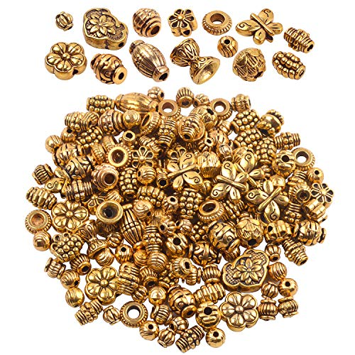 BronaGrand 100 Gram(About 150-200pcs) Antique Gold Spacer Beads Charm Bead Spacers Jewelry Findings Accessories for Bracelet Necklace Jewelry Making Antique Gold Metal Bead