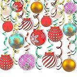HOWAF Decoraciones Navidad en Forma de Remolino Colgante, 30pcs Colores Bolas Navidad Adornos de Serpentinas Espiral, Decoraciones de Techo para Navidad Año Nuevo Artículos de Decoración