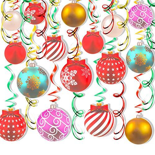 HOWAF 30pcs Weihnachten Dekorationen PVC Papier Spiral Hängedeko Bunte Weihnachtsbaum Kugeln Luftschlangen Wirbel Dekorationen für Weihnachten Hängedekoration Deckenhänger