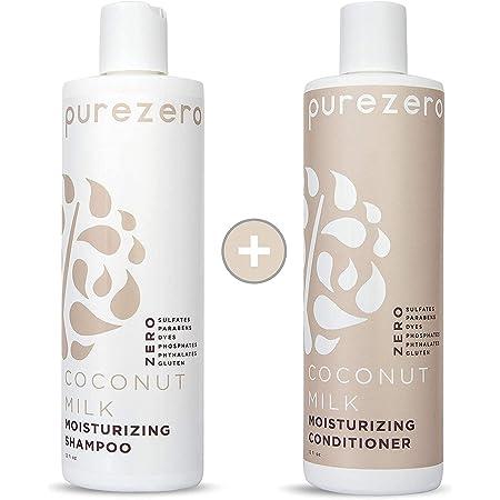 Purezero Coconut Milk Shampoo & Conditioner set - Intense Hydration & Increase Shine - Fight Dandruff & Frizz - Zero Sulfates, Parabens, Dyes - 100% Vegan & Cruelty Free - Great For Color Treated Hair